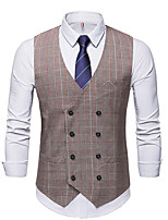 cheap -James Bond Gentleman Vintage Double Breasted Waistcoat Men's Slim Fit Cotton Costume Gray Vintage Cosplay Party Halloween / Vest
