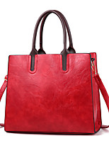 cheap -Women's Faux Leather / PU Top Handle Bag Solid Color Black / Earth Yellow / Wine
