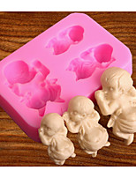 cheap -Baby Sleeping Baby's Baby Shape Turned Sugar Silica Gel Mold Hand Made Chocolate Press Mold Baked Cake Decoration Mold