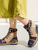 cheap -Women's Boots Flat Heel Round Toe Suede Booties / Ankle Boots Fall & Winter Red / Blue
