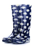cheap -Women's Boots Low Heel Round Toe PVC Mid-Calf Boots Fall Blue