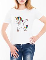 abordables -Tee-shirt Femme, Animal / Bande dessinée Imprimé Basique Blanche
