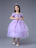 cheap -Sofia Dress Masquerade Flower Girl Dress Girls' Movie Cosplay A-Line Slip Cosplay Halloween Purple Dress Halloween Carnival Masquerade Tulle Polyester