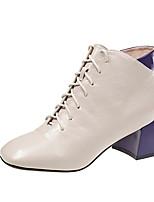 cheap -Women's Boots Block Heel Round Toe PU Booties / Ankle Boots Winter Black / Beige