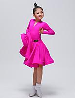 cheap -Latin Dance Outfits Girls' Training / Performance Chinlon Split Joint Long Sleeve Natural Skirts / Top