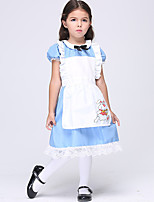 cheap -Maid Costume Dress Masquerade Flower Girl Dress Girls' Movie Cosplay A-Line Slip Cosplay Halloween Blue Dress Halloween Carnival Masquerade Cotton