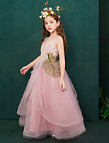 cheap -The Great Gatsby Dress Masquerade Flower Girl Dress Girls' Movie Cosplay A-Line Slip Cosplay Halloween Pink Dress Halloween Carnival Masquerade Tulle Polyster