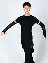 cheap -Latin Dance Tops Men's Performance Milk Fiber Ruching Long Sleeve Top