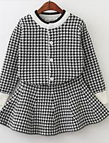 cheap -Kids Girls' Basic Check Long Sleeve Clothing Set Black