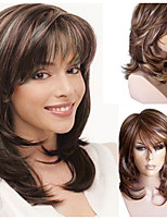 cheap -Synthetic Wig Curly kinky Straight Asymmetrical Wig Medium Length Light Brown Synthetic Hair 16 inch Women's Best Quality Brown