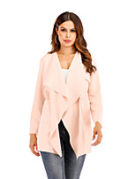 cheap -Women's Daily Street chic Spring &  Fall Regular Trench Coat, Solid Colored Collarless Long Sleeve Cotton / Polyester / Spandex Cut Out Blushing Pink