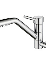 cheap -Kitchen faucet - Two Handles Two Holes Electroplated Standard Spout Centerset Contemporary Kitchen Taps
