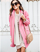cheap -Women's Daily / Work Street chic Spring &  Fall Long Coat, Solid Colored Turndown Long Sleeve Polyester Blushing Pink / Camel