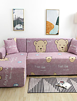 cheap -Cartoon Bear Print Dustproof All-powerful Slipcovers Stretch L Shape Sofa Cover Super Soft Fabric Couch Cover with One Free Pillow Case