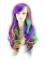 cheap -Synthetic Wig Curly Asymmetrical Wig Very Long Ombre Color Synthetic Hair 39 inch Women's Best Quality Purple