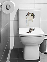 cheap -Funny Cat Toilet Stickers - Animal Wall Stickers Animals / Transportation Bathroom / Kids Room