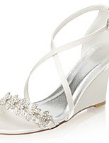 cheap -Women's Wedding Shoes Wedge Heel Open Toe Rhinestone Satin Summer Ivory / Party & Evening