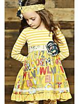 cheap -Kids Girls' Letter Dress Yellow