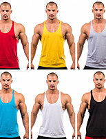 cheap -Men's Tank Top Stringer Y Back Fashion Black Dark Grey Black / Red Black / Yellow Black / Orange Cotton Fitness Gym Workout Bodybuilding Vest / Gilet Sleeveless Sport Activewear Breathable Quick Dry