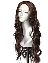 cheap -Synthetic Lace Front Wig Wavy Middle Part Lace Front Wig Long Brown Synthetic Hair 18-26 inch Women's Life Soft Adjustable Brown