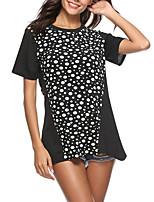 abordables -Tee-shirt Femme, Points Polka Chic de Rue Noir