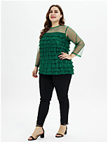cheap -Women's Daily Basic / Elegant Blouse - Solid Colored Patchwork Green