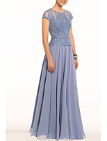 cheap -A-Line Jewel Neck Floor Length Chiffon Elegant Engagement / Formal Evening Dress 2020 with Embroidery / Sash / Ribbon