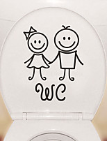 cheap -Cartoon Cute Toilet Stickers - People Wall Stickers Shapes Bathroom