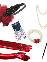 cheap -The Great Gatsby The Great Gatsby Elastic Freshwater Pearl Outfits For Masquerade Vacation Holiday Halloween Carnival Women's Women Costume Jewelry Fashion Jewelry / Gloves / Gloves / Earrings