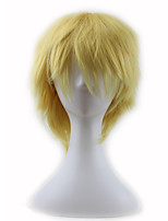cheap -Synthetic Wig Curly Asymmetrical Wig Short Light Blonde Synthetic Hair 11 inch Men's Best Quality Blonde