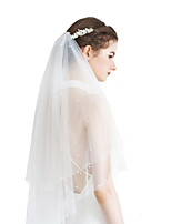 cheap -Two-tier Sweet Wedding Veil Fingertip Veils with Faux Pearl / Solid Tulle / Classic
