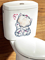 cheap -Mischievous Animal Toilet Stickers - Animal Wall Stickers Animals Bathroom / Kids Room