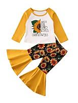 cheap -Baby Girls' Street chic Floral Long Sleeve Regular Clothing Set Yellow