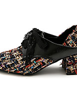 cheap -Women's Heels Chunky Heel Square Toe Linen Preppy / Minimalism Spring &  Fall Black / Burgundy / Beige / Color Block