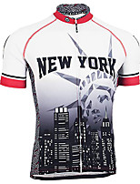 cheap -21Grams Men's Short Sleeve Cycling Jersey Winter 100% Polyester Black / White Bike Jersey Top Mountain Bike MTB Road Bike Cycling UV Resistant Breathable Quick Dry Sports Clothing Apparel / Stretchy