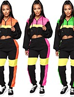 cheap -Women's 2-Piece Cropped Tracksuit Sweatsuit 2pcs Running Fitness Jogging Windproof Breathable Soft Sportswear Athletic Clothing Set Long Sleeve Activewear Micro-elastic Regular Fit / Streetwear