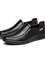 cheap -Men's Leather Shoes Nappa Leather Spring / Fall & Winter Business / Casual Loafers & Slip-Ons Walking Shoes Warm Black / Dark Brown / Yellow / Party & Evening