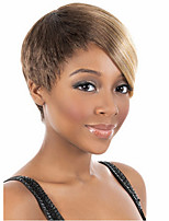 cheap -Synthetic Wig Curly Asymmetrical Wig Short Light Brown Synthetic Hair 11 inch Women's Best Quality Black