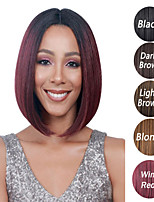 cheap -Synthetic Wig Straight kinky Straight Asymmetrical Wig Long Ombre Burgundy Synthetic Hair 6 inch Women's Best Quality Burgundy Ombre