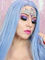 abordables -Perruque Lace Front Synthétique Droit Partie latérale Lace Frontale Perruque Long Bleu Cheveux Synthétiques 18-26 pouce Femme Doux Ajustable Soirée Bleu