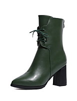cheap -Women's Boots Chunky Heel Round Toe PU Booties / Ankle Boots Fall & Winter Black / Green