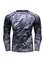 cheap -CODYLUNDIN Men's Round Neck Compression Shirt Running Shirt Running Base Layer Winter Patchwork 3D Print White+Blue Green / Black Black / Yellow Green Military Green Running Active Training Jogging