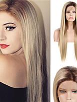 abordables -Perruque Lace Front Synthétique Droit soyeux Partie médiane Lace Frontale Perruque Long Blond Cheveux Synthétiques 18-24 pouce Femme Ajustable Résistant à la chaleur Synthétique Blond A Ombre