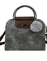 cheap -Women's Pom-pom Polyester / PU Top Handle Bag Solid Color Black / Blushing Pink / Gray