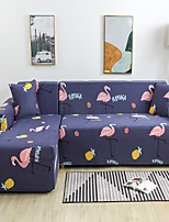 cheap -Cartoon Flamingo Print Dustproof All-powerful Slipcovers Stretch L Shape Sofa Cover Super Soft Fabric Couch Cover with One Free Pillow Case
