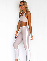 cheap -Women's Tracksuit Yoga Suit Solid Color Purple Yoga Fitness Gym Workout Tights Bra Top Sleeveless Sport Activewear Breathable Moisture Wicking Butt Lift Tummy Control High Elasticity