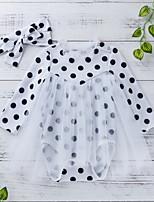 cheap -Baby Girls' Basic Polka Dot Long Sleeve Romper White