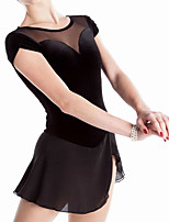 cheap -Figure Skating Dress Women's Girls' Ice Skating Dress Black Spandex High Elasticity Training Competition Skating Wear Handmade Patchwork Short Sleeve Ice Skating Figure Skating