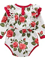 cheap -Baby Girls' Basic Floral Long Sleeve Romper Red
