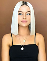 cheap -Synthetic Wig Straight Asymmetrical Wig Medium Length Ombre White Synthetic Hair 16 inch Women's Best Quality White